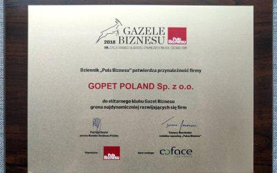 GOPET Poland uhonorowany  Gazelą Biznesu 2018