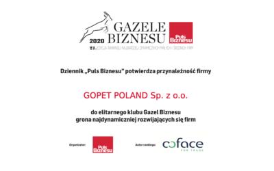 Gopet Poland honoured with 2020 Gazela Biznesu award
